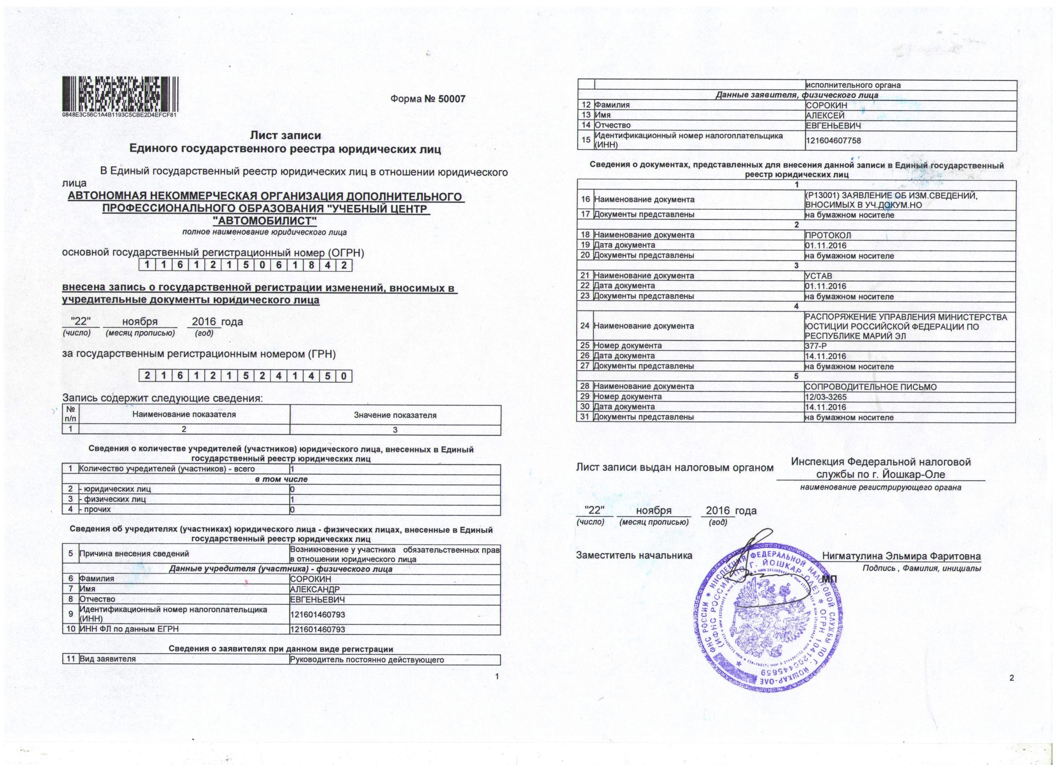 ЛИСТ записи в ЕГРЮЛ (АНО)